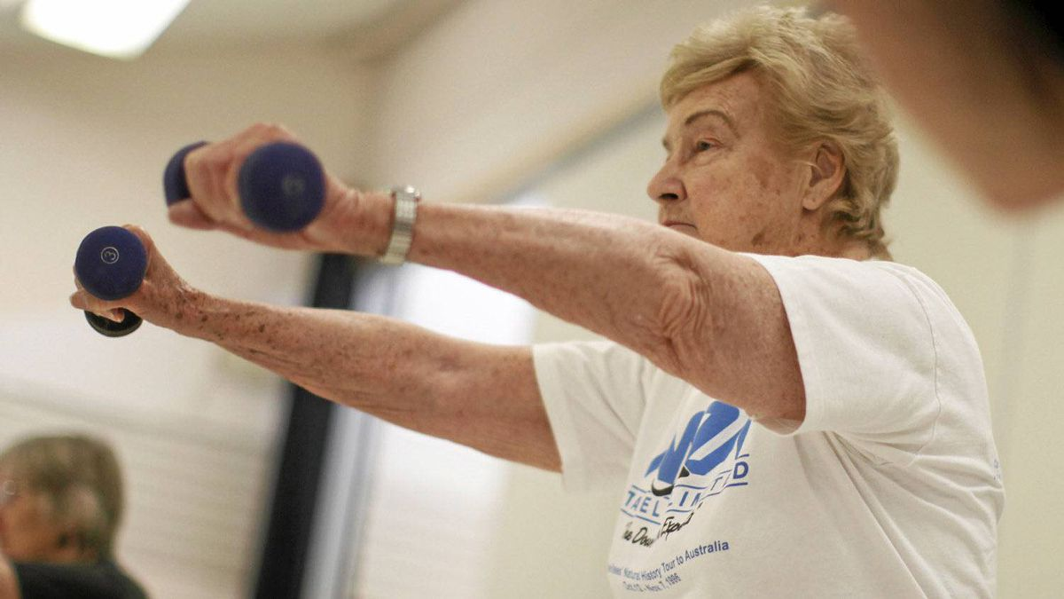 Joyce Clearihue, 85, takes part in the Strong Seniors fitness class at the Monterey Recreation Centre in Oak Bay, BC Tuesday May 29, 2012.