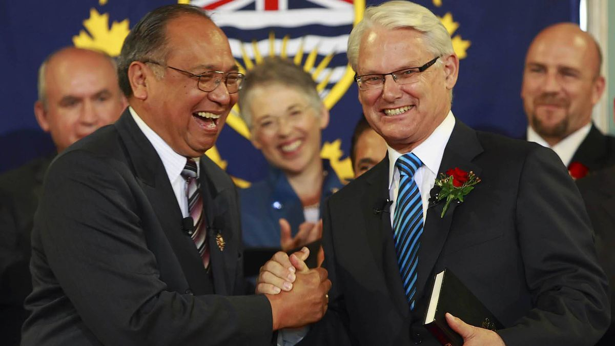 B.C. Premier Gordon Campbell, right, is congratulated by B.C. Lieutenant Governor Steven L. Point after his swearing-in at Government House in Victoria, B.C. June 10, 2009.