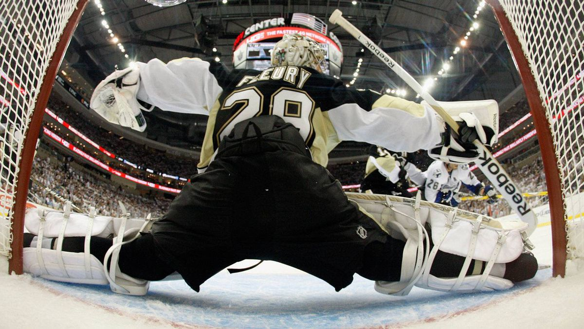 Marc-Andre Fleury #29 of the Pittsburgh Penguins defends the net during their game with the Tampa Bay Lightning . (Photo by Justin K. Aller/Getty Images)