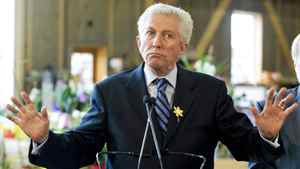 Bloc Quebecois Leader Gilles Duceppe speaks to supporters during a campaign stop at a farm in Chambly, Que., south of Montreal, on April 27, 2011.