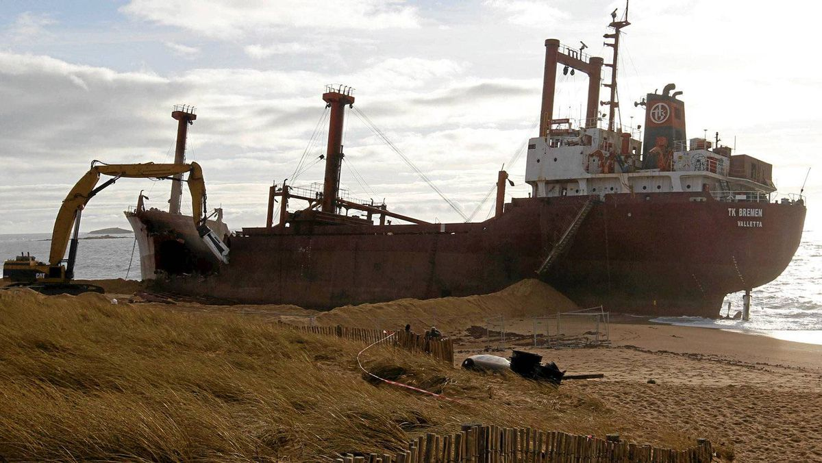 The TK Bremen ran aground on Kerminihy beach at Erdeven on the coast of Brittany during the winter storm Joachim on December 16, 2011.