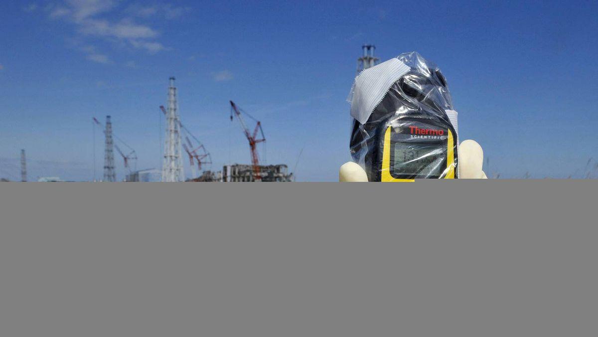 A radiation monitor near the No.4 and No.3 buildings at the tsunami-crippled Fukushima Daiichi nuclear power plant.