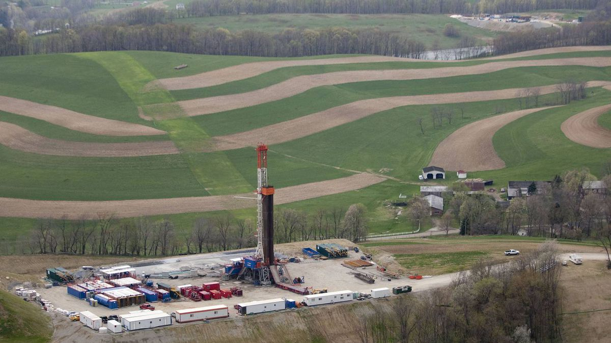 A shale-gas drilling rig in Pennsylvania