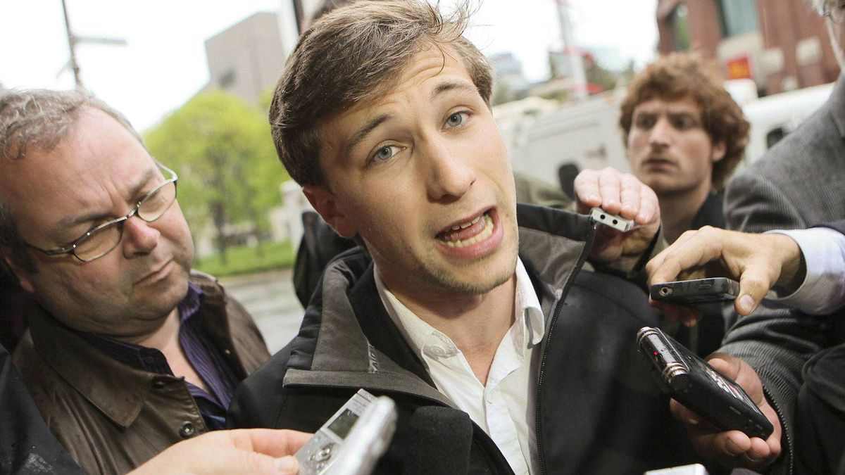 CLASSE spokesperson Gabriel Nadeau Dubois speaks to media before meeting with Quebec governement in Quebec city, Tuesday May 15, 2012.