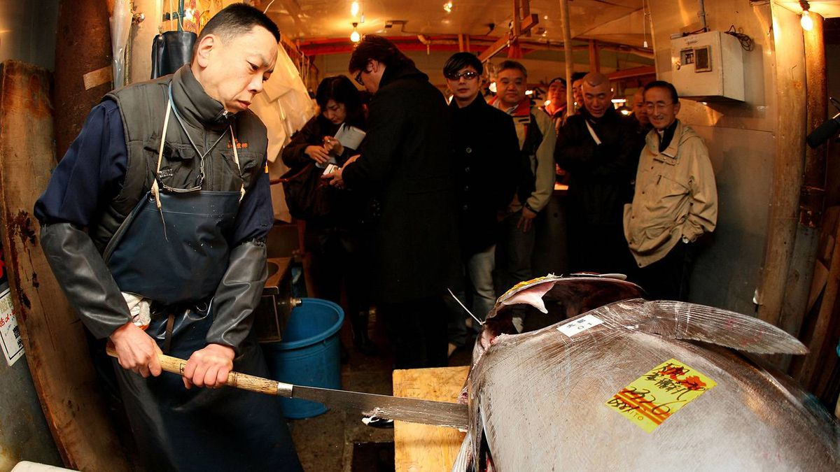 A market wholesaler cuts up a 232-plus kilogram bluefin tuna during the new year's first auction at the Tsukiji fish market on January 5, 2010 in Tokyo.