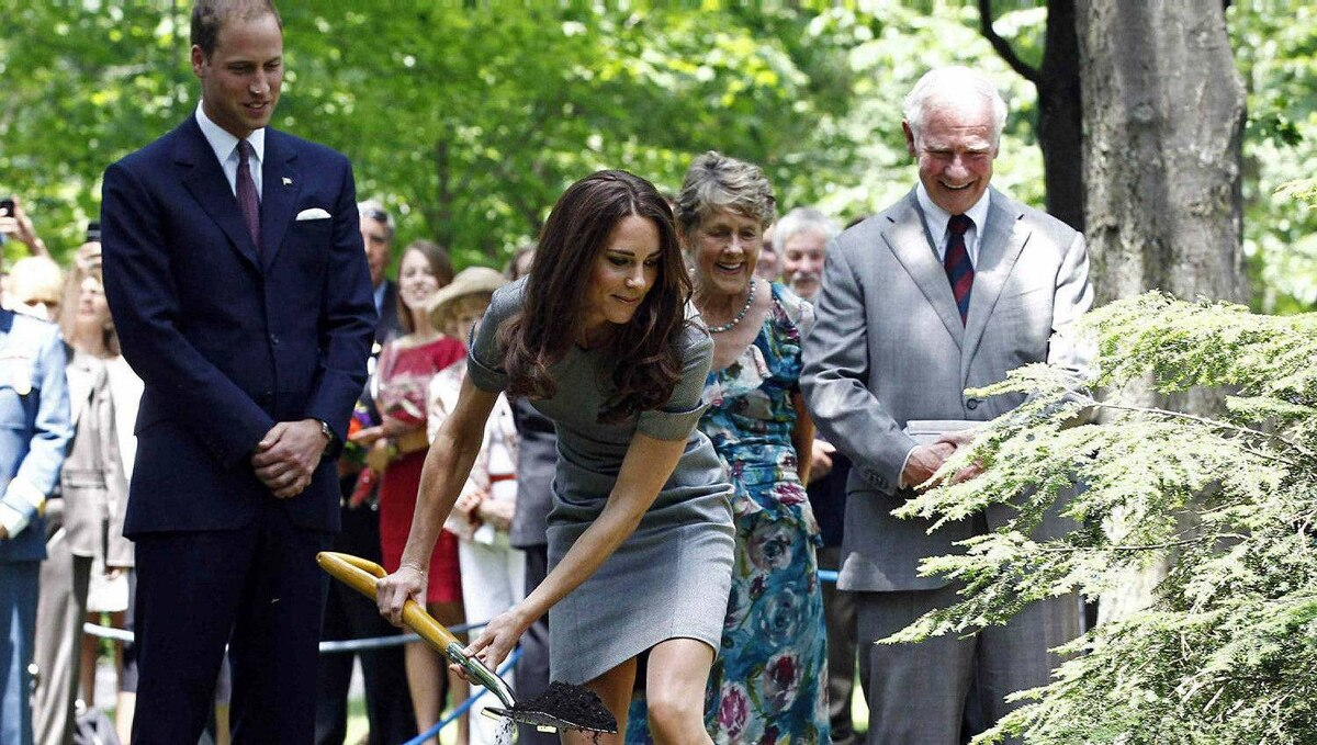 Prince William watches as his wife Catherine, Duchess of Cambridge, shovels dirt during a tree planting ceremony at Rideau Hall in Ottawa July 2, 2011. Also pictured are Canada's Governor General David Johnston (R) and his wife Sharon (2nd R).