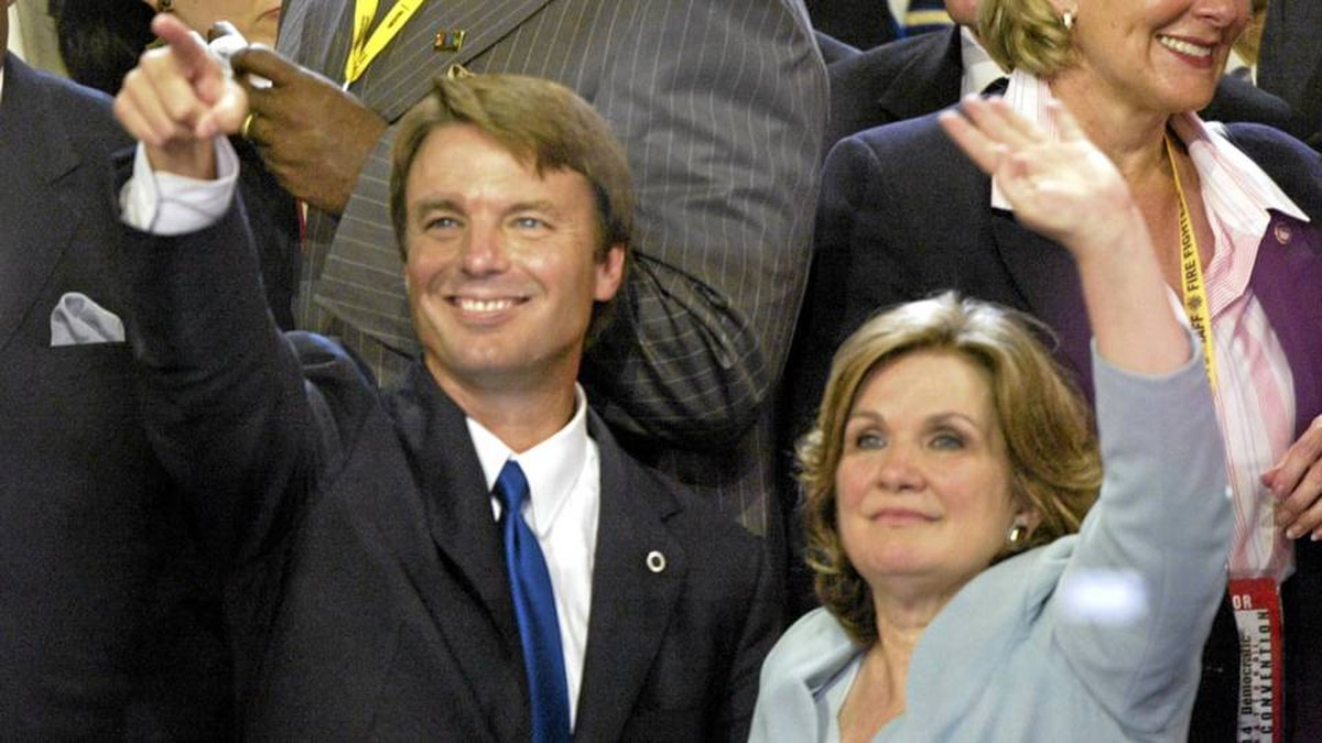 Then Democratic vice presidential candidate John Edwards and his wife Elizabeth wave to delegates on the final night of the Democratic National Convention in 2004.