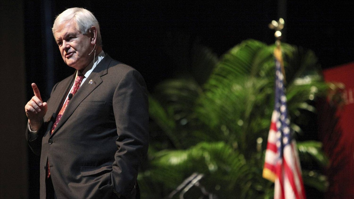 Republican presidential candidate and former U.S. House Speaker Newt Gingrich makes a point during a town hall meeting at the Sottile Theatre on the campus of the College of Charleston in Charleston, South Carolina, November 28, 2011.