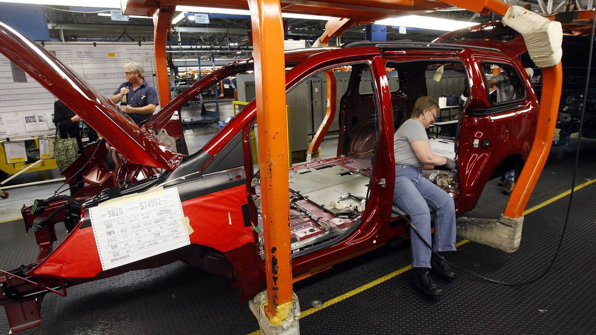 An assembly line at Chrysler's minivan plant in Windsor, Ont.