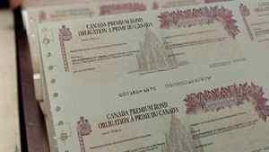 Canada Premium Bonds come off the presses at the Canada Bank Note Company in Ottawa.