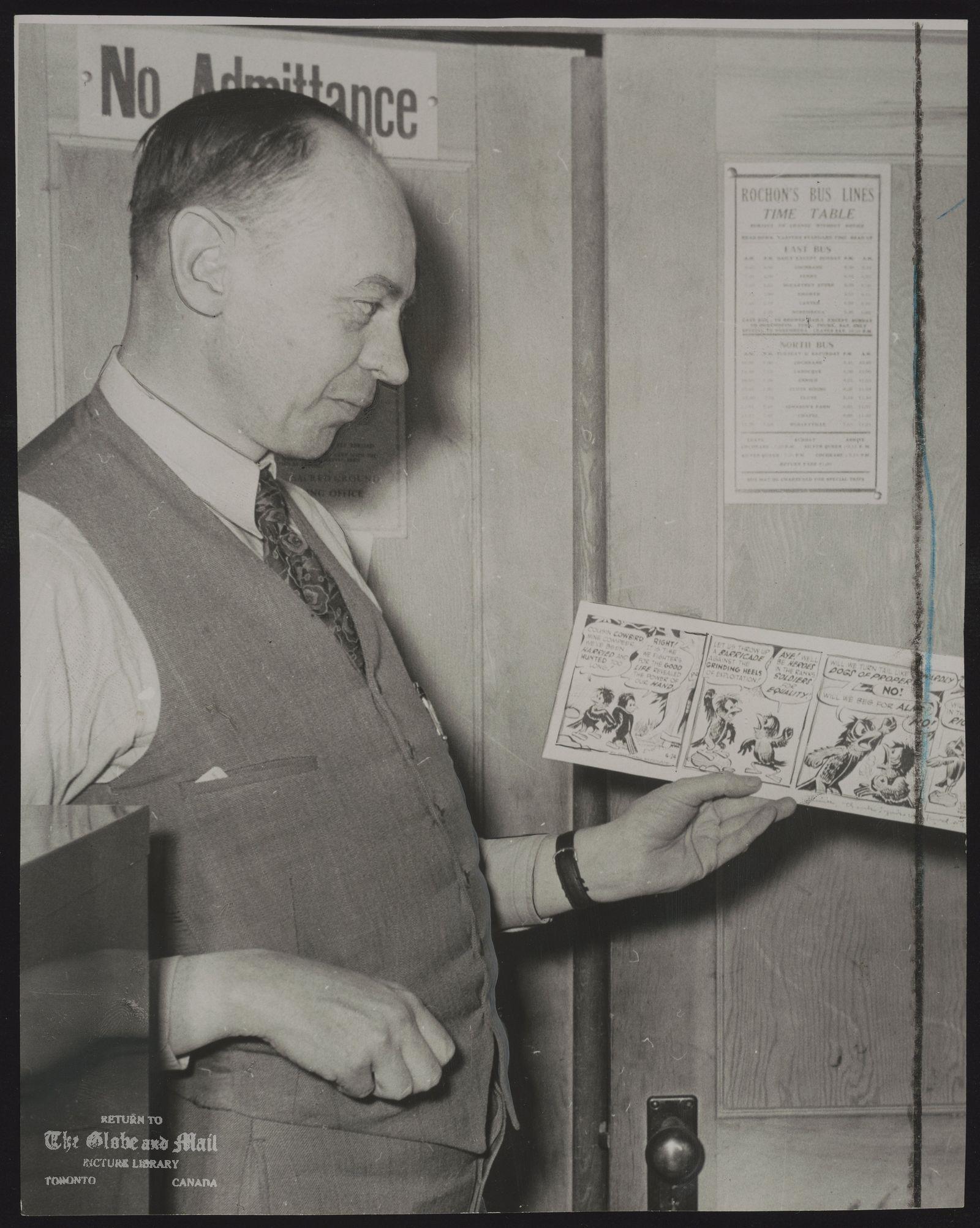 Pogo Put in Same Class as Gulliver's Travels Walt Kelly sends original comic strip to Editor Harold Wills [Cochrane Northland Post] Editorial Touches Pogo's Pop Strip Thanks Cochrane Writer