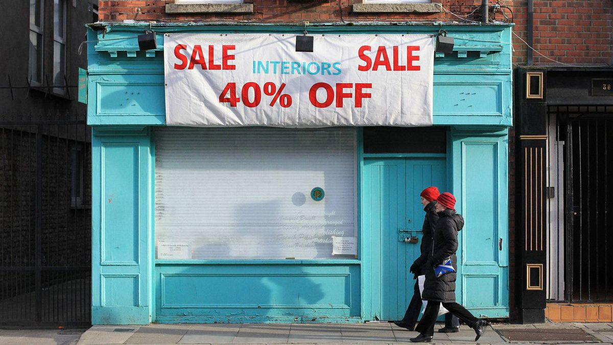 A closed store in Dublin, Dec. 6, 2011. Ireland's economy was the worst performer in the EU in the past quarter.