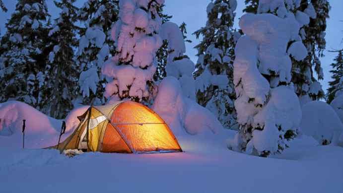 Winter camping in Strathcona Park, near Mount Washington, Vancouver Island.