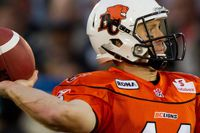 B.C. Lions' Travis Lulay throws against the Calgary Stampeders during the first half of a CFL football game in Vancouver, B.C., on Friday July 8, 2011. THE CANADIAN PRESS/Darryl Dyck