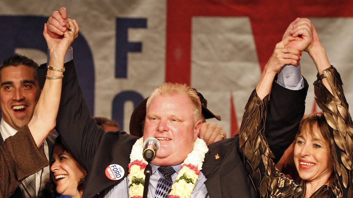 Mayor-elect Rob Ford celebrates victory in Toronto on Oct. 25, 2010.