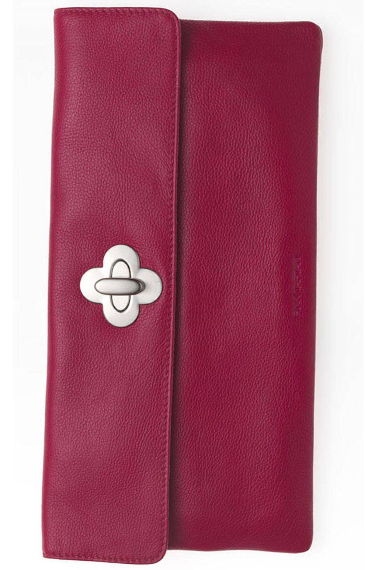 Pink leather Kimberley clutch by Pink Tartan, $195 through www.pinktartan.com.