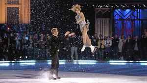 "Valeri Bure (left) and Ekaterina Gordeeva take to the ice as they celebrate winning the television ice dance competition 'Battle of The Blades"" in Toronto on Monday November 22, 2010."