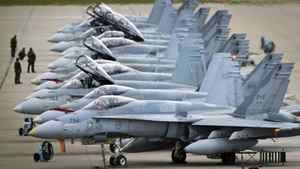 CF-18's in CFB Cold Lake, AB September 28, 2010 are line up on the tarmac before take off.