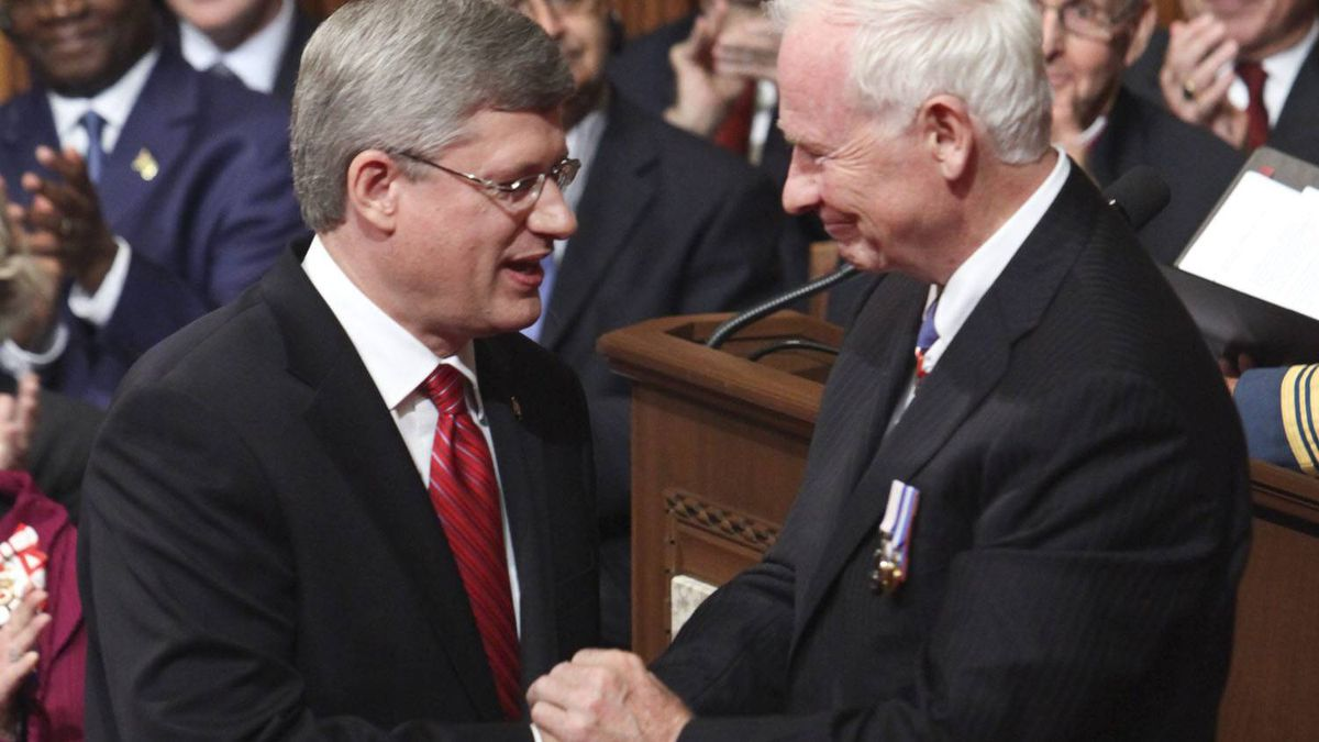 Governor General Designate David Johnston is greeted by Prime Minister Stephen Harper during the installation ceremony of the 28th Governor General in the Senate on Parliament Hill , Friday, Oct. 1, 2010, in Ottawa.