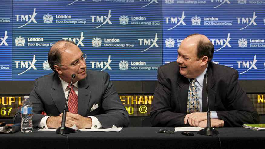 London Stock Exchange CEO Xavier Rolet (L) and TMX Group CEO Tom Kloet speak to the media regarding the merger of the TSX and the LSE in Toronto, February 9, 2011.