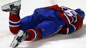 Montreal Canadiens' P.K. Subban reacts after being slashed by Tampa Bay Lightning's Vincent Lecavalier during the first period of NHL play in Montreal, March 17 , 2011. Lecavalier was given a five-minute penalty for slashing and a game misconduct on the play REUTERS/Shaun Best