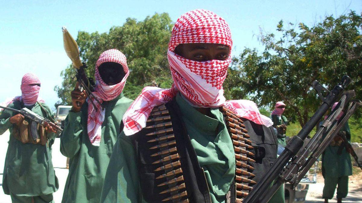 This Nov. 4, 2008 file photo shows members of Somalia's al-Shabab jihadist movement during exercises at their military training camp outside Mogadishu.