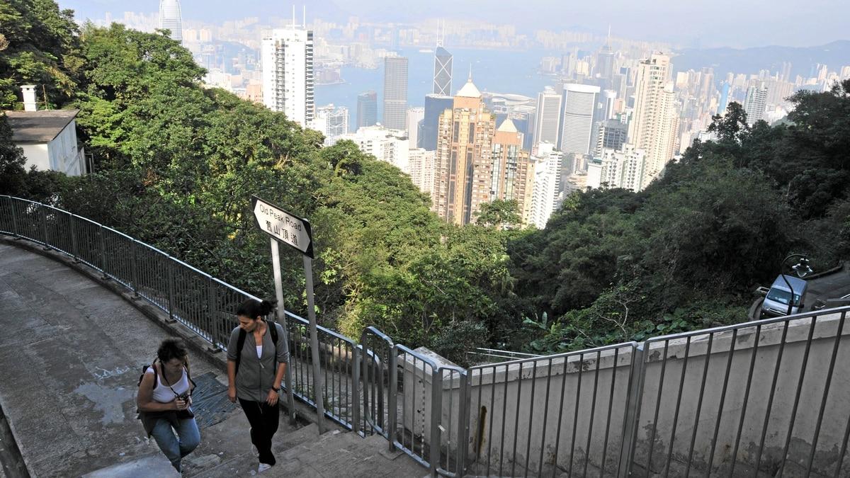 Taiking the Old Peak Road trail overlooking Hong Kong.