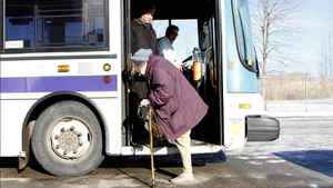 Joanne Spearing, an 80-year-old resident of Welland, Ont., slowly disembarks from a city bus. Urban planners say more attention needs to be paid to the special demands of an aging population.