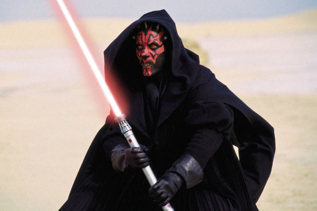 Sith warrior Darth Maul is shown in Start Wars, Episode 1: The Phantom Menace.