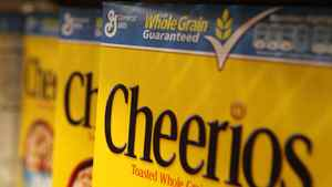 Boxes of Cheerios cereal, made by General Mills, sit on the shelf at a grocery store in Berkeley, Calif.
