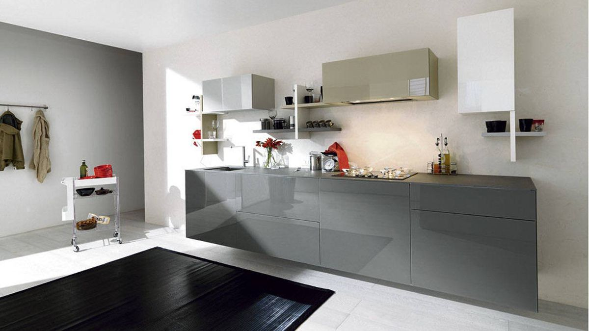 GLOSSY GREYS Modular 36E8 counter by Lago, price on request through www.suite22.ca.