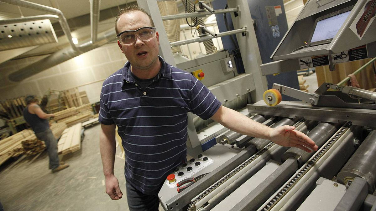 Vokes Furniture owner Michael Vokes talks about his newest machinery acquisition, which increased his productivity by 20 per cent and allowed him to hire more staff at the company's factory in Shallow Lake, Ont.