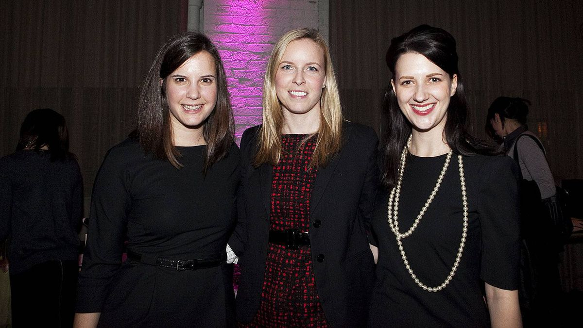 Elisabeth Freedman (left), Young Women in Law president Jessica Catton, and Lindsay Smart