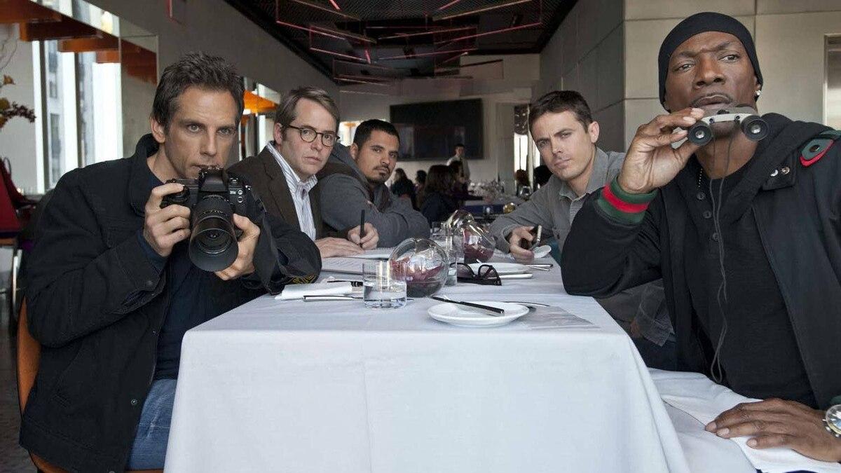 "(From left) Ben Stiller, Matthew Broderick, Michael Pena, Casey Affleck and Eddie Murphy in a scene from ""Tower Heist"""