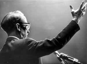 Tommy Douglas, leader of the New Democratic Party, speaks to an election campaign rally at Maple Leaf Gardens in Toronto on Nov. 4, 1965.