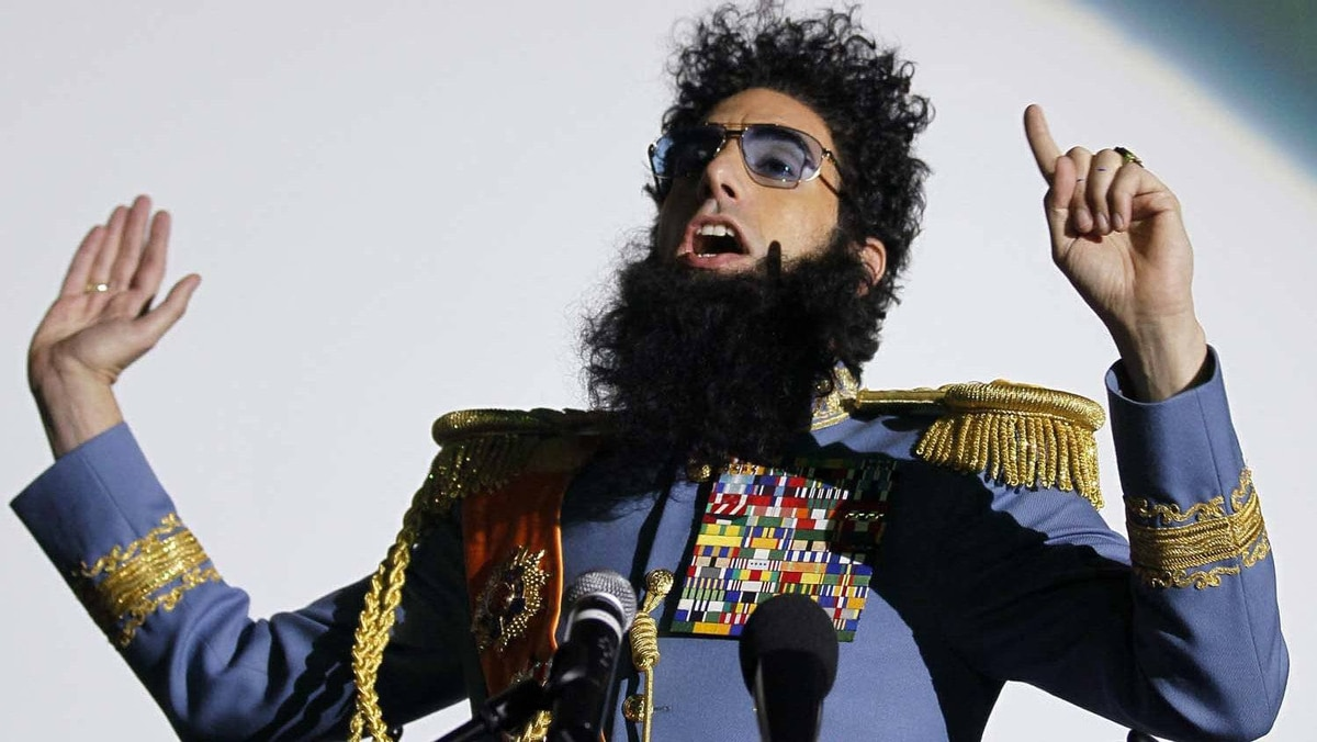 British actor Sacha Baron Cohen speaks to the audience before a preview of his latest movie, The Dictator, in Cologne, Germany, on May 14, 2012.