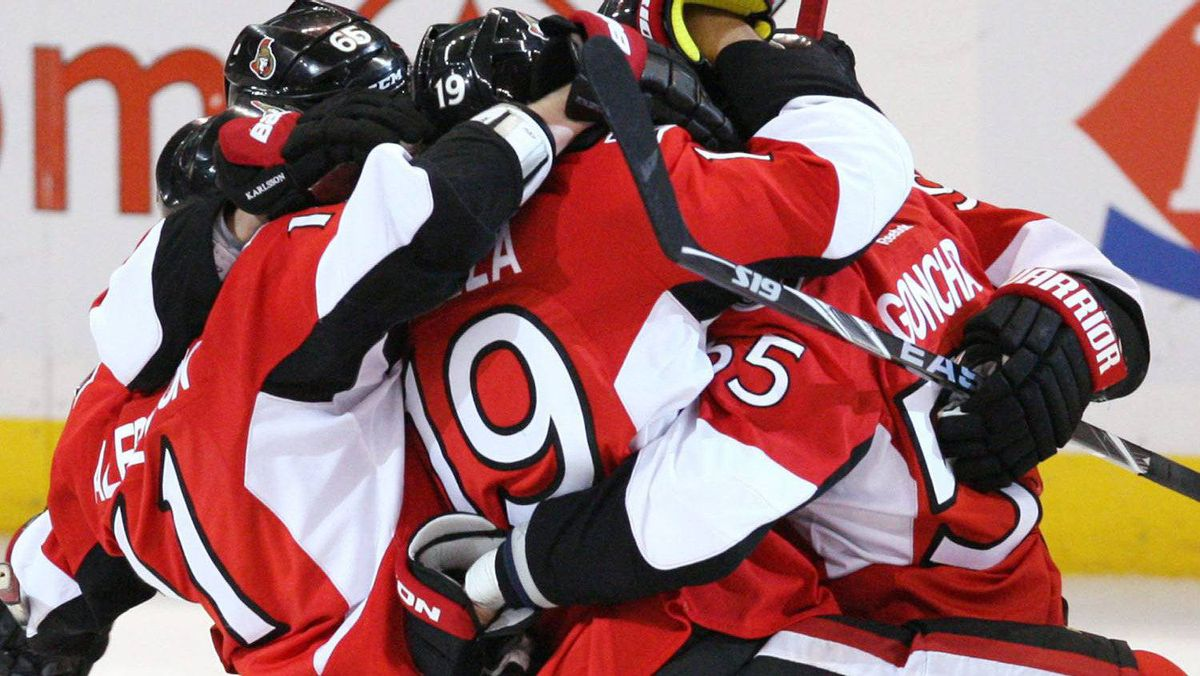 Ottawa Senators players celebrate teammate Milan Michalek's goal with seconds remaining in the third period NHL hockey action against the Columbus Blue Jackets in Ottawa Saturday October 22 , 2011. Ottawa defeated Columbus 4-3. THE CANADIAN PRESS/Fred Chartrand