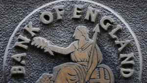 A plaque depicting Britannia is seen on the outside of the Bank of England in the City of London February 4, 2010.