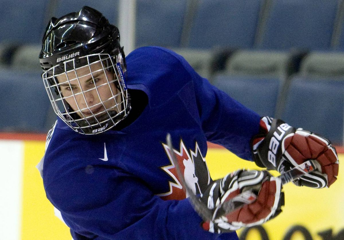 Canadian national junior team prospect Tyler Seguin, from the Plymouth Whalers, shoots during practice December 14, 2009 at the team's selection camp for the World Junior Ice Hockey Championships in Regina.