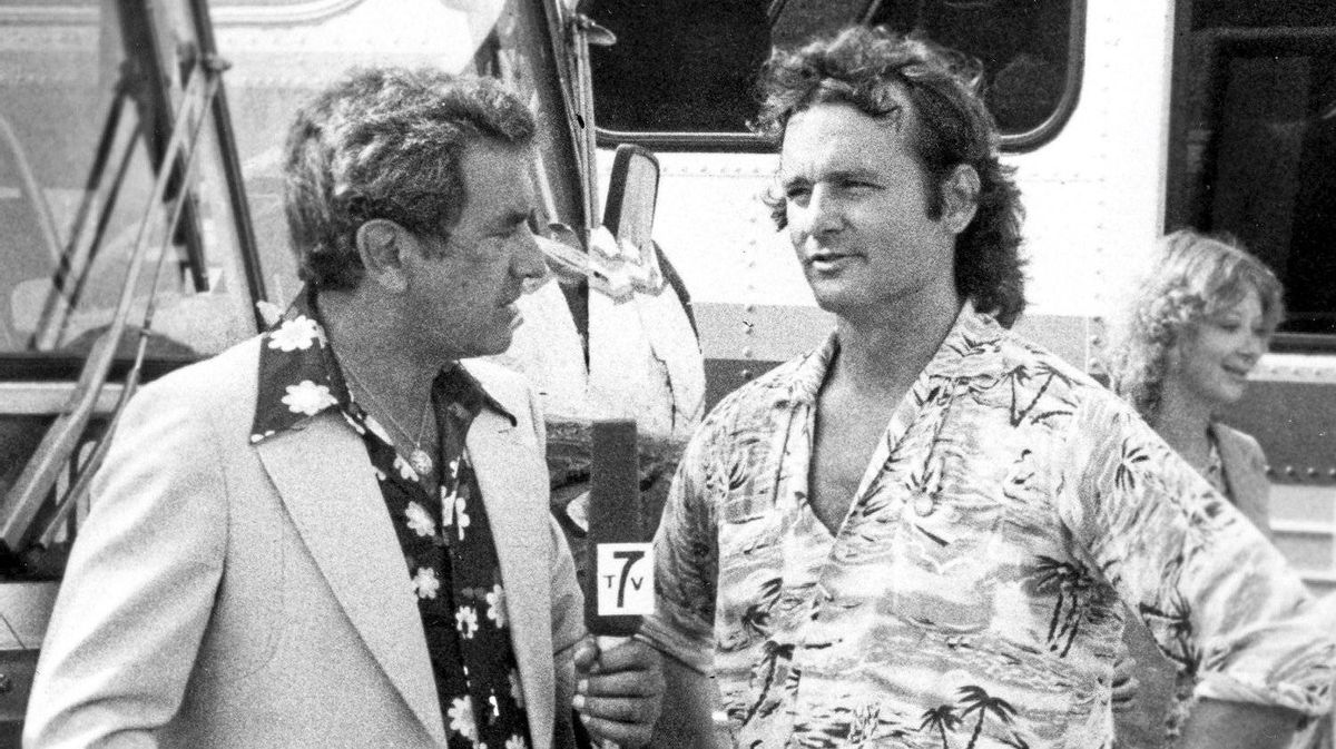 Television personality Larry Solway interviews camp counselor Bill Murray as seen in this Paramount Pictures' Meatballs publicity handout photo.