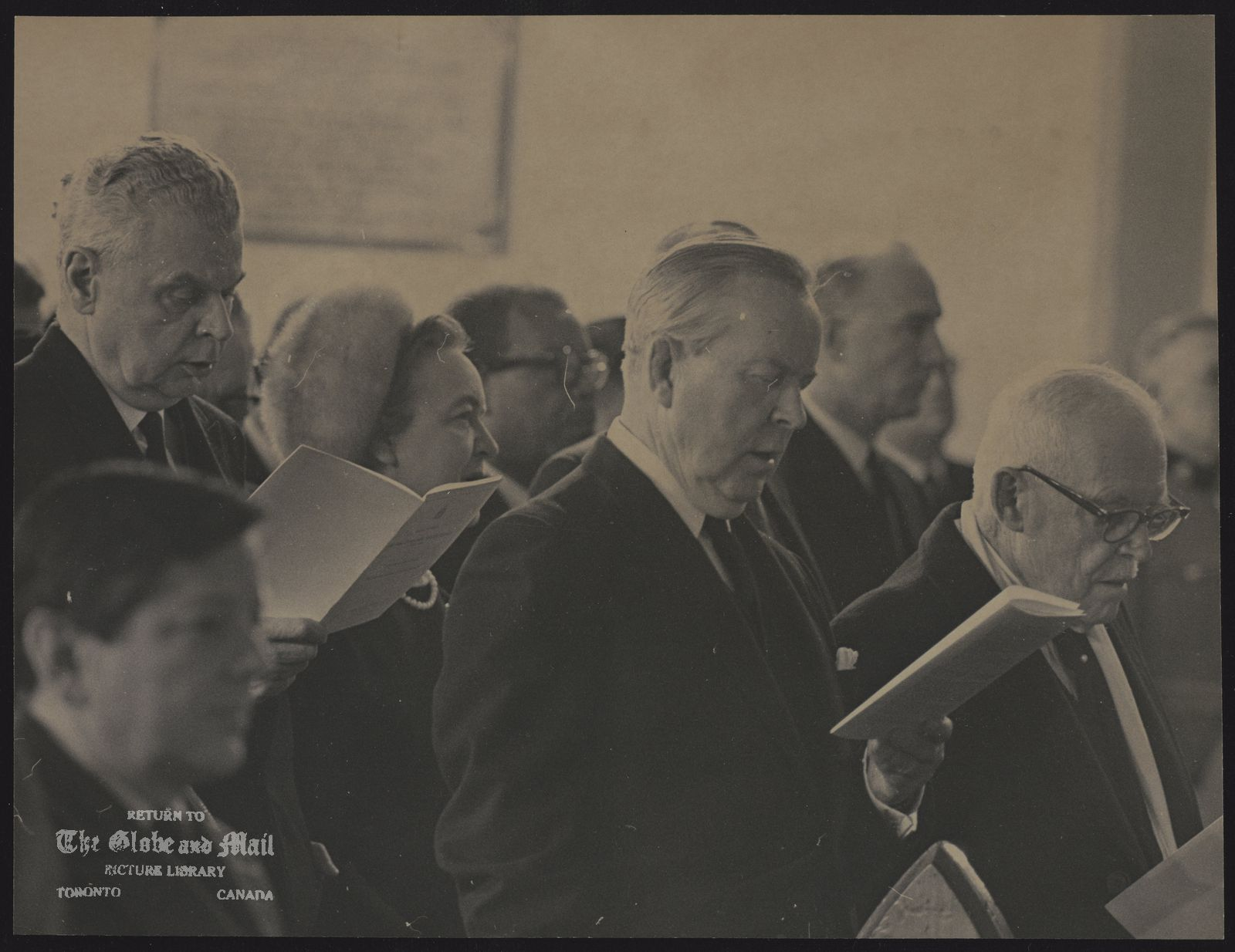 Vincent MASSEY Three former prime ministers at funeral service for former Governor-General in Ottawa. From left, John Diefenbaker, Lester Pearson, Louis St Laurent