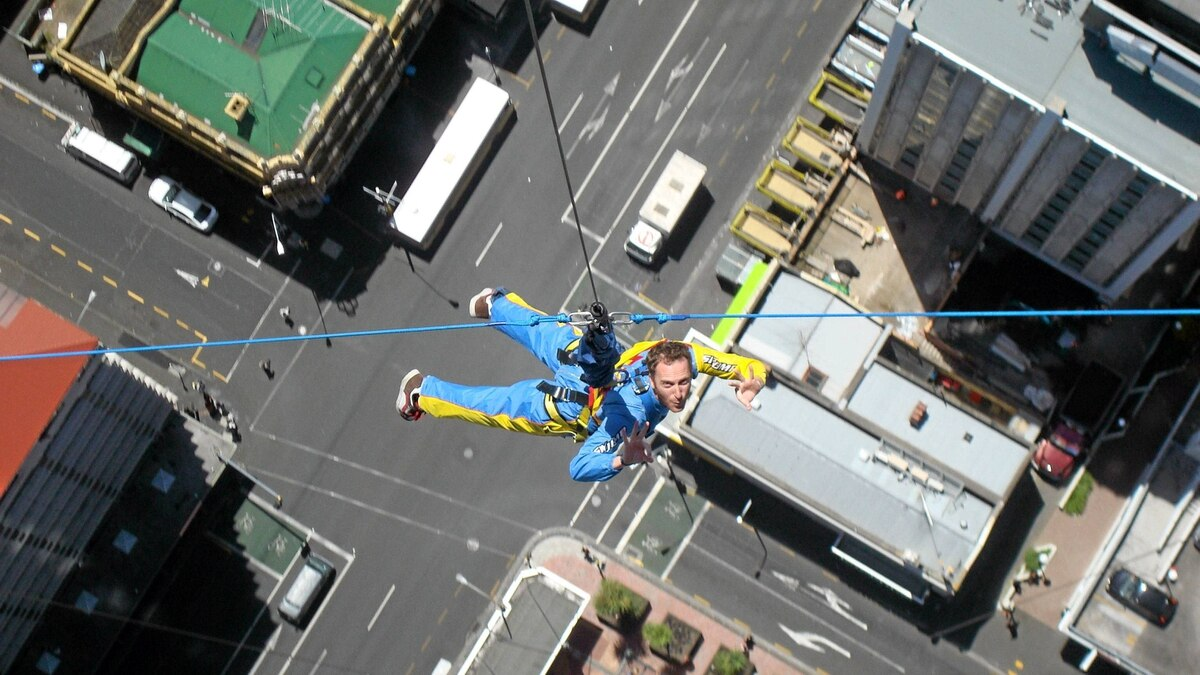 Drop in to save the day in your superhero overalls at Auckland's Skytower