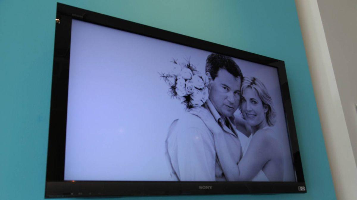 TV screen at LUXE destination weddings
