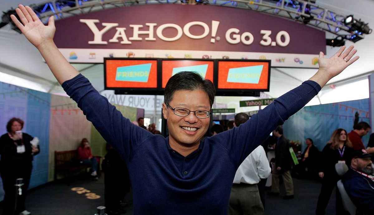 Yahoo CEO Jerry Yang gives the Yahoo! gesture in the Yahoo booth after he gave his keynote address at the Consumer Electronics Show (CES) in Las Vegas, Monday, Jan. 7, 2008.