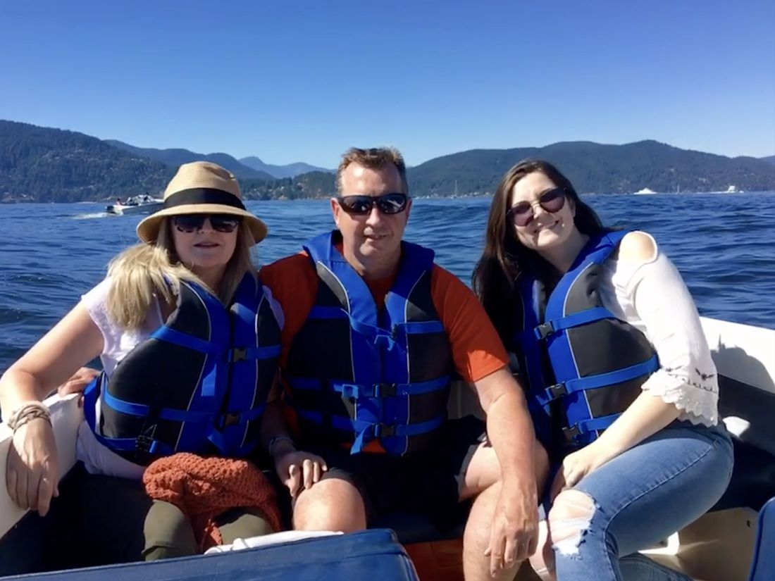 The author (left) is pictured with her parents Colin Montgomery and Shelley Hogan on a family trip to Vancouver in Sept. 2017.