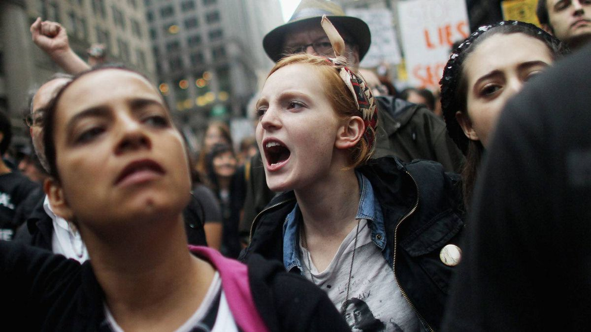 Marchers make their way to the Brooklyn Bridge for the Occupy Wall Street Movement on Oct. 1, 2011.