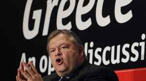 Greek Minister of Finance Evangelos Venizelos speaks during a conference in Athens, Monday, Sept. 19, 2011.