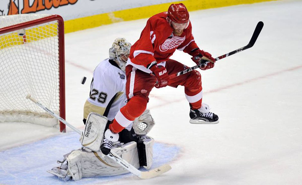 Marc-Andre Fleury of the Pittsburgh Penguins makes a save behind Daniel Cleary of the Detroit Red Wings