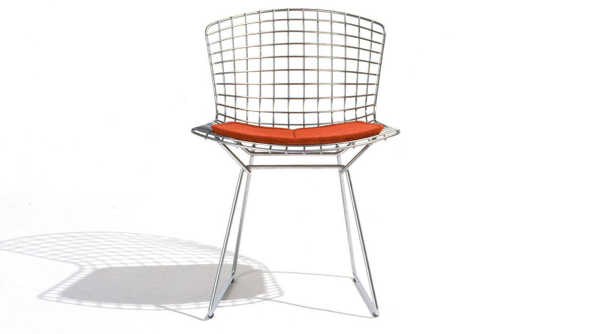Knoll?s iconic Bertoia Side Chair is available in classic chrome as well as black, white, red, yellow, green and blue finishes. Seat cushions, back pads and full covers are also available in a range of hues. From $524 through www.knoll.com.