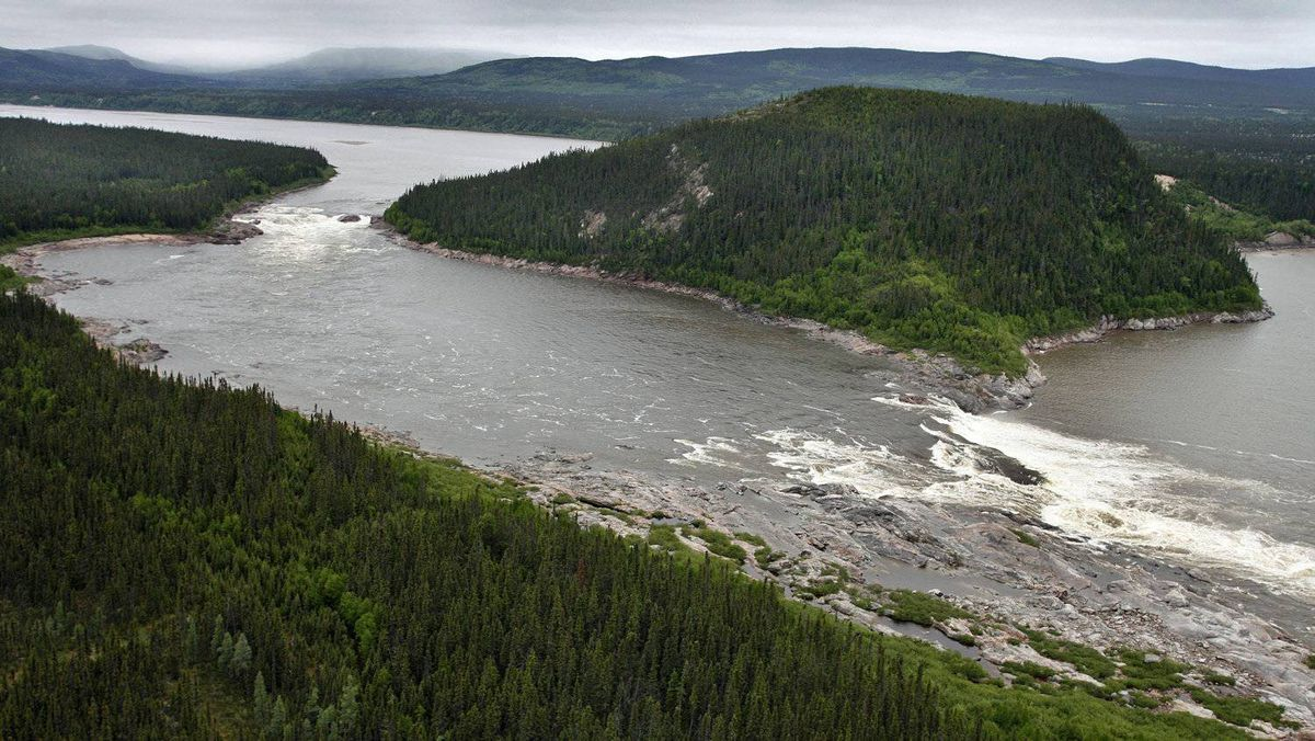 An aerial view of Muskrat Falls, on Labrador's Churchill River.